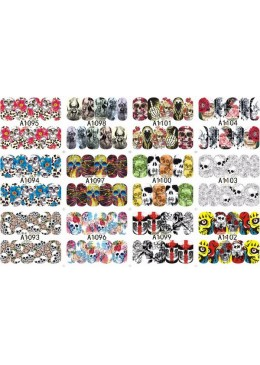 Lot de 12 waters decals Sugar Skull