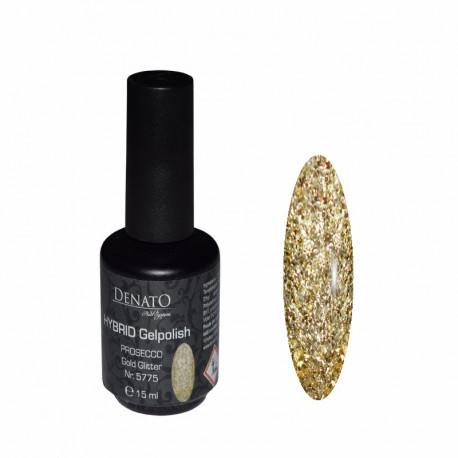 Hybrid gel Polish Prosecco Gold Glitter