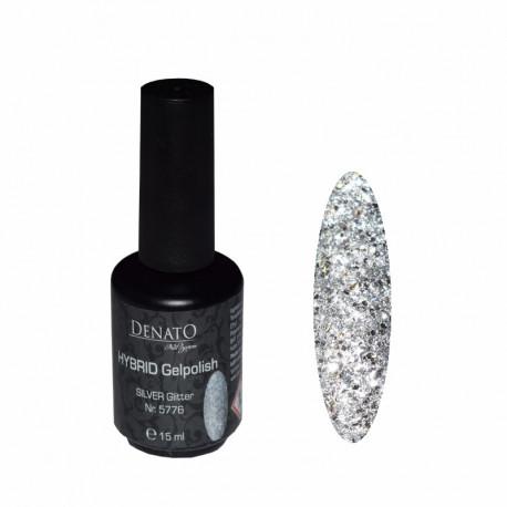 Hybrid gel Polish Silver Glitter