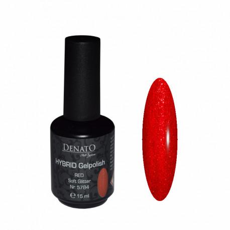 Hybrid gel Polish Red Soft Glitter